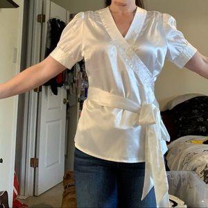 White pearl wrap blouse M